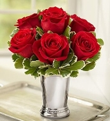 """Julep Cup Kiss"" - Premium Red Rose Arrangement"