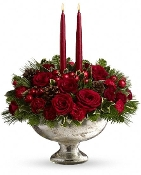 Christmas Glow Centerpiece - Fresh Flower Arrangement