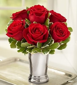 """Julep Cup Kiss"" - Fresh Cut Rose Arrangement"
