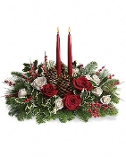 Seasons Greetings Centerpiece - Fresh Flower Arrangement