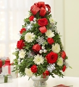 """Holiday Celebration Tree"" - Fresh Flower Design"