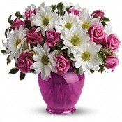 """Pink Polka Dot Love"" - Fresh Flower Arrangement - Deluxe"